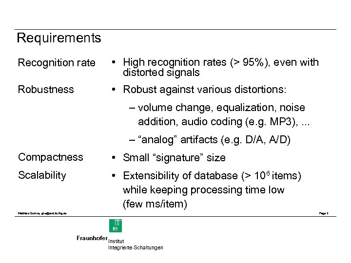 Requirements Recognition rate • High recognition rates (> 95%), even with distorted signals Robustness