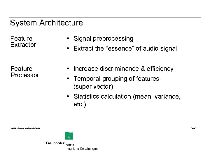 System Architecture Feature Extractor • Signal preprocessing Feature Processor • Increase discriminance & efficiency