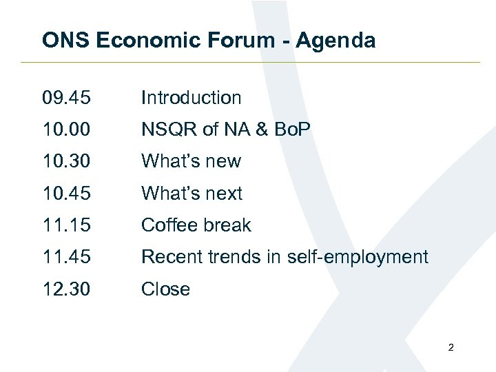 ONS Economic Forum - Agenda 09. 45 Introduction 10. 00 NSQR of NA &