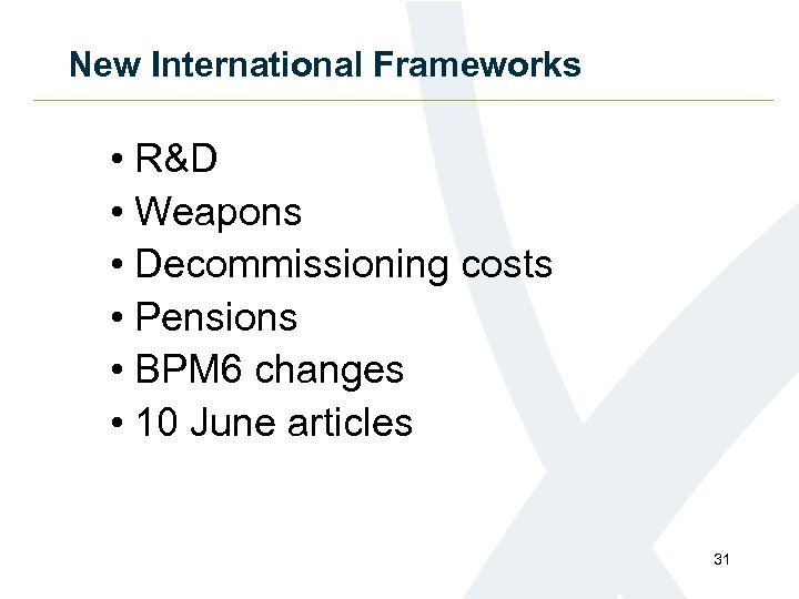 New International Frameworks • R&D • Weapons • Decommissioning costs • Pensions • BPM