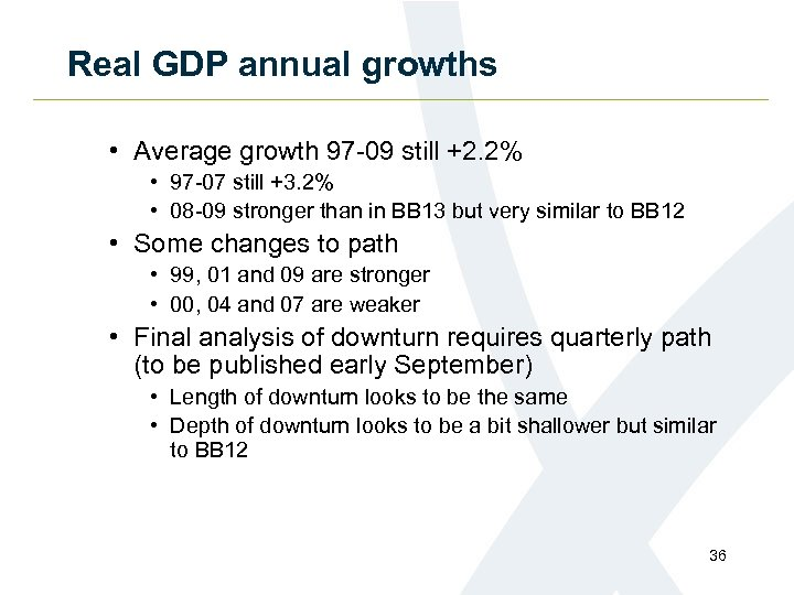 Real GDP annual growths • Average growth 97 -09 still +2. 2% • 97