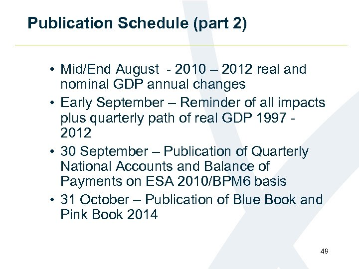 Publication Schedule (part 2) • Mid/End August - 2010 – 2012 real and nominal