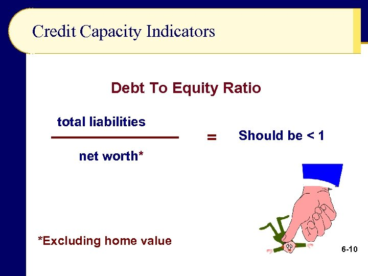 Credit Capacity Indicators Debt To Equity Ratio total liabilities = Should be < 1