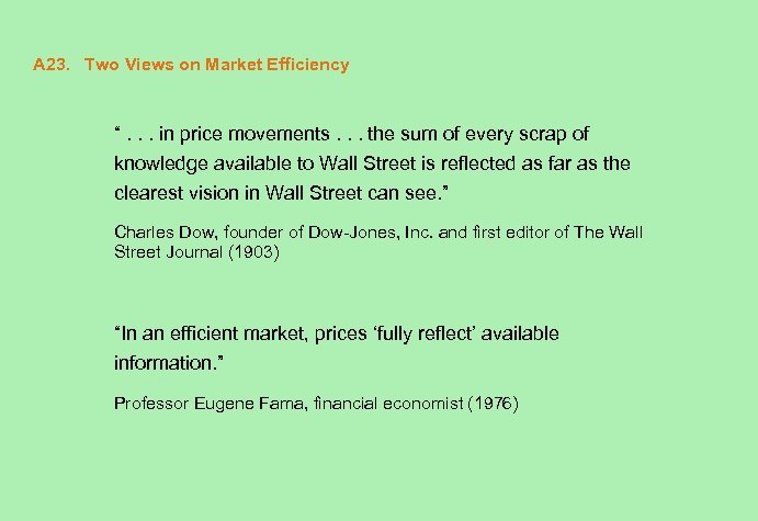 """A 23. Two Views on Market Efficiency """". . . in price movements. ."""