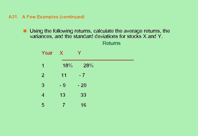 A 31. A Few Examples (continued) n Using the following returns, calculate the average