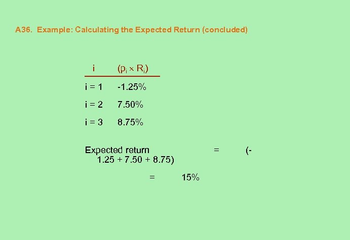 A 36. Example: Calculating the Expected Return (concluded) i (pi Ri) i=1 -1. 25%