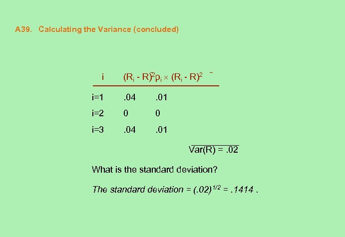 A 39. Calculating the Variance (concluded) i (Ri - R)2 pi (Ri - R)2