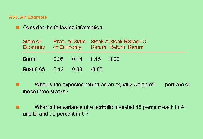 A 63. An Example n Consider the following information: State of Economy Prob. of
