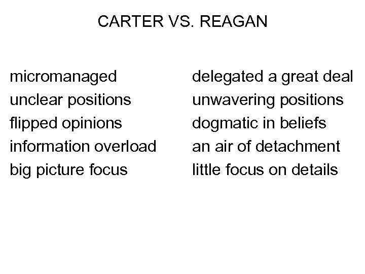 CARTER VS. REAGAN micromanaged unclear positions flipped opinions information overload big picture focus delegated