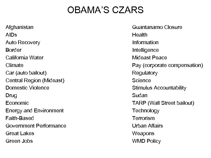 OBAMA'S CZARS Afghanistan AIDs Auto Recovery Border California Water Climate Car (auto bailout) Central
