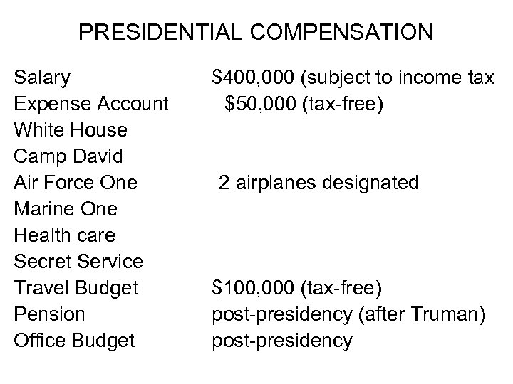 PRESIDENTIAL COMPENSATION Salary $400, 000 (subject to income tax Expense Account $50, 000 (tax-free)