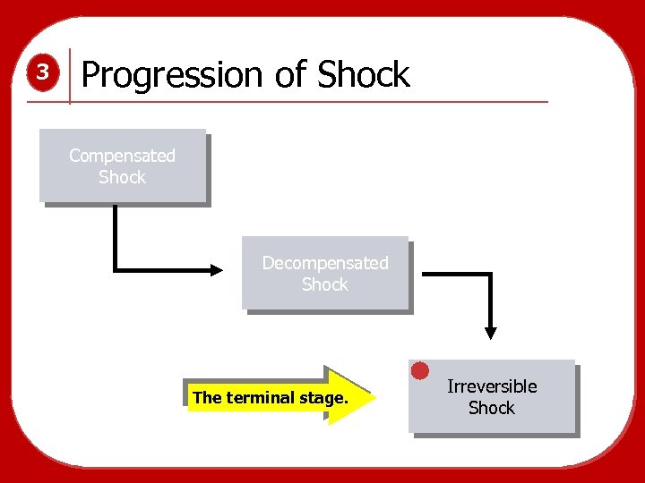 3 Progression of Shock Compensated Shock Decompensated Shock The terminal stage. Irreversible Shock