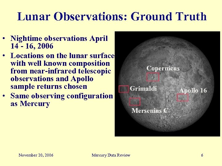 Lunar Observations: Ground Truth • Nightime observations April 14 - 16, 2006 • Locations