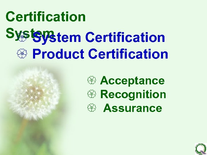 Certification System { System Certification { Product Certification { Acceptance { Recognition { Assurance