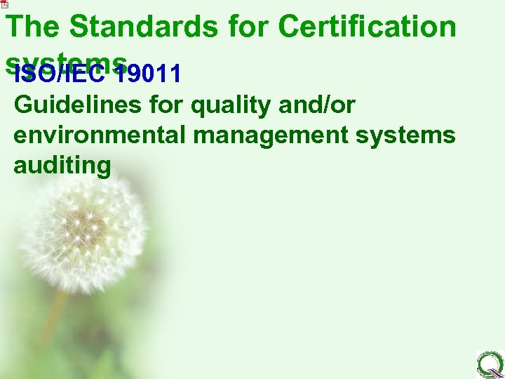 The Standards for Certification systems ISO/IEC 19011 Guidelines for quality and/or environmental management systems