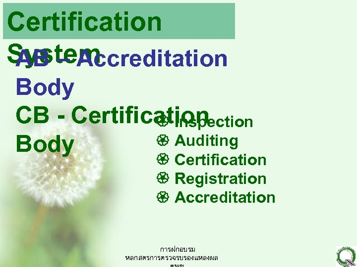 Certification System AB – Accreditation Body CB - Certification Inspection Auditing Body Certification Registration