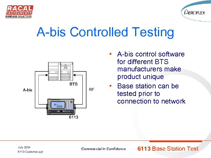 A-bis Controlled Testing • A-bis control software for different BTS manufacturers make product unique