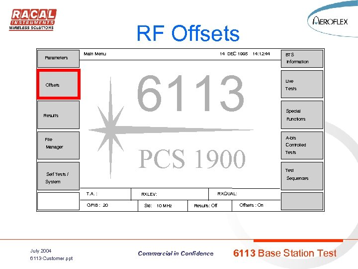 RF Offsets Parameters Main Menu 14 DEC 1995 14: 12: 44 BTS Information 6113