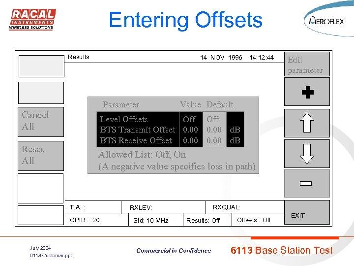 Entering Offsets Results 14 NOV 1996 14: 12: 44 Parameter Cancel All Edit parameter