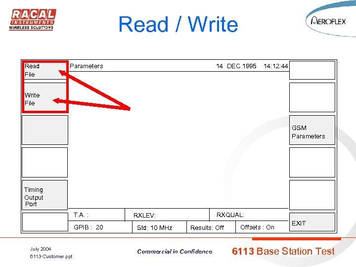 Read / Write Read File Parameters 14 DEC 1995 14: 12: 44 Write File