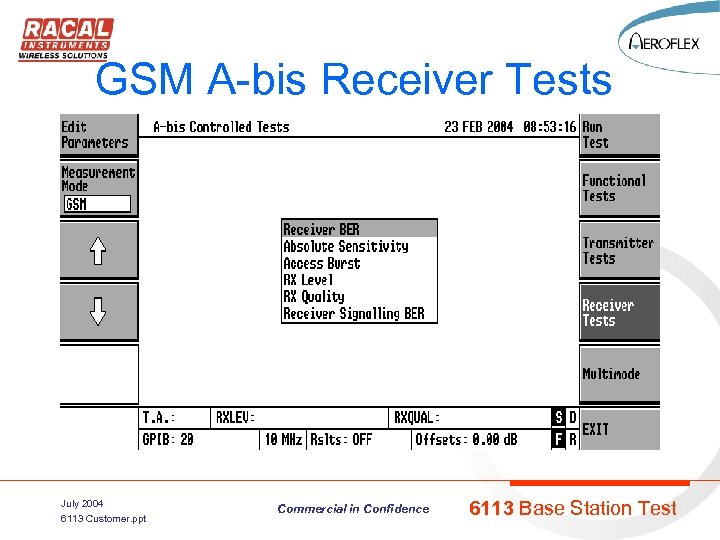 GSM A-bis Receiver Tests July 2004 6113 Customer. ppt Commercial in Confidence 6113 Base