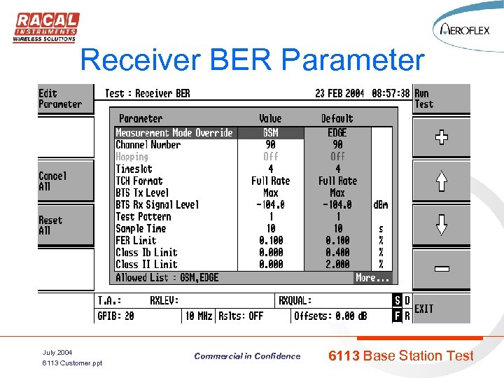 Receiver BER Parameter July 2004 6113 Customer. ppt Commercial in Confidence 6113 Base Station