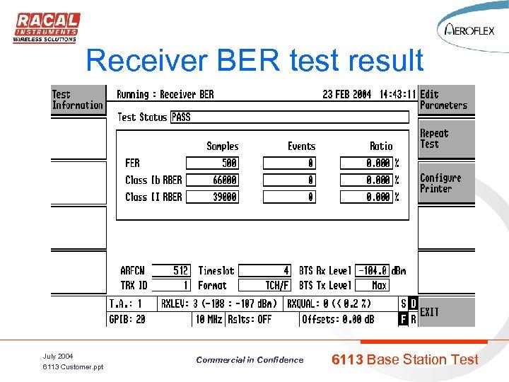 Receiver BER test result July 2004 6113 Customer. ppt Commercial in Confidence 6113 Base