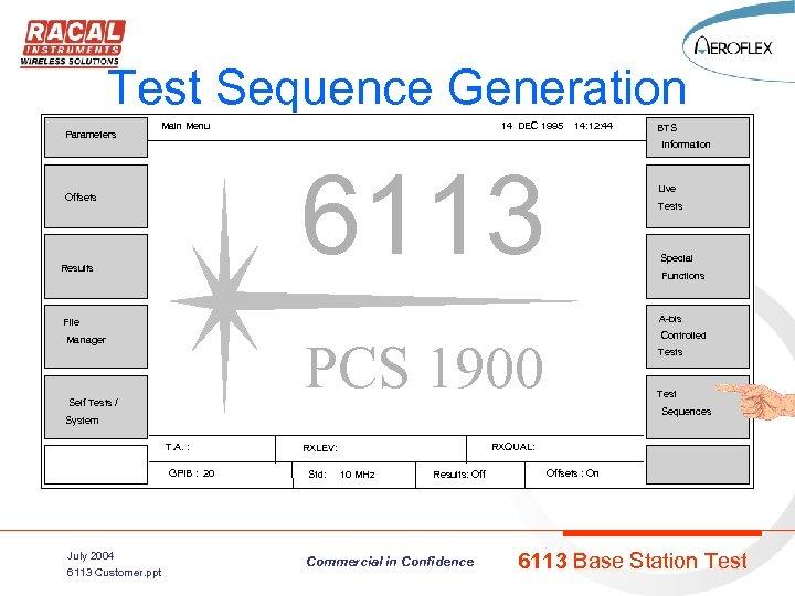 Test Sequence Generation Parameters Main Menu 14 DEC 1995 14: 12: 44 Information 6113