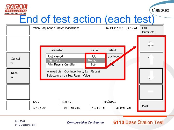 End of test action (each test) July 2004 6113 Customer. ppt Commercial in Confidence