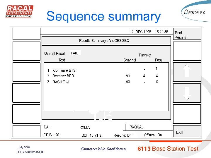 Sequence summary July 2004 6113 Customer. ppt Commercial in Confidence 6113 Base Station Test