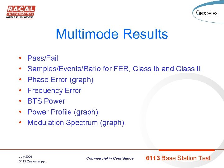 Multimode Results • • Pass/Fail Samples/Events/Ratio for FER, Class lb and Class II. Phase