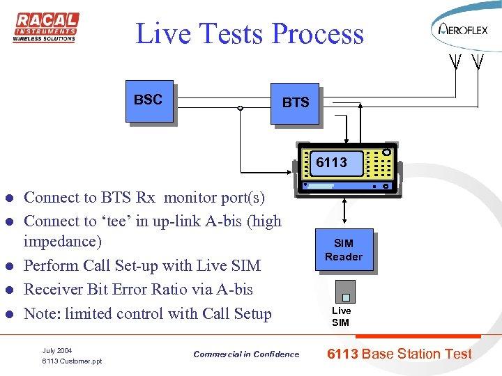 Live Tests Process BSC BTS 6113 l l l Connect to BTS Rx monitor