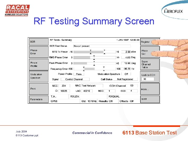 RF Testing Summary Screen July 2004 6113 Customer. ppt Commercial in Confidence 6113 Base