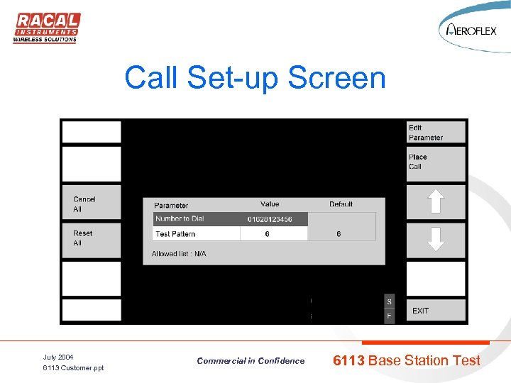 Call Set-up Screen July 2004 6113 Customer. ppt Commercial in Confidence 6113 Base Station