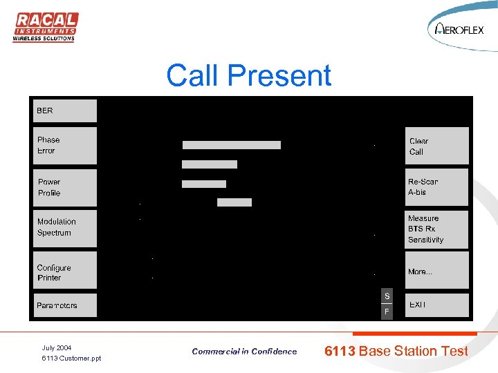 Call Present July 2004 6113 Customer. ppt Commercial in Confidence 6113 Base Station Test