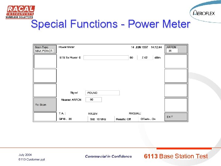 Special Functions - Power Meter July 2004 6113 Customer. ppt Commercial in Confidence 6113