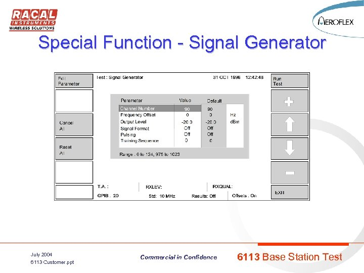 Special Function - Signal Generator July 2004 6113 Customer. ppt Commercial in Confidence 6113