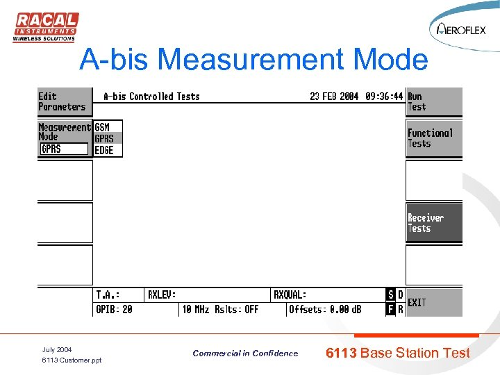 A-bis Measurement Mode July 2004 6113 Customer. ppt Commercial in Confidence 6113 Base Station