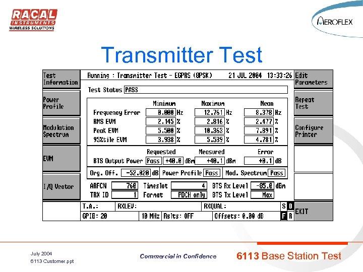 Transmitter Test July 2004 6113 Customer. ppt Commercial in Confidence 6113 Base Station Test