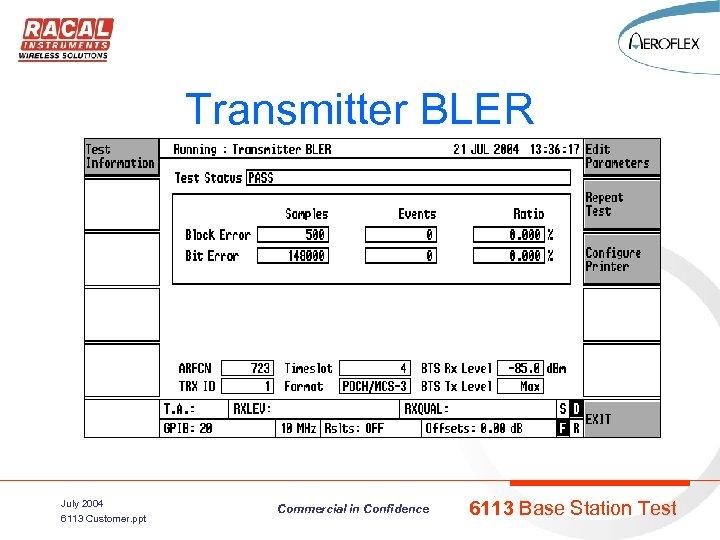 Transmitter BLER July 2004 6113 Customer. ppt Commercial in Confidence 6113 Base Station Test