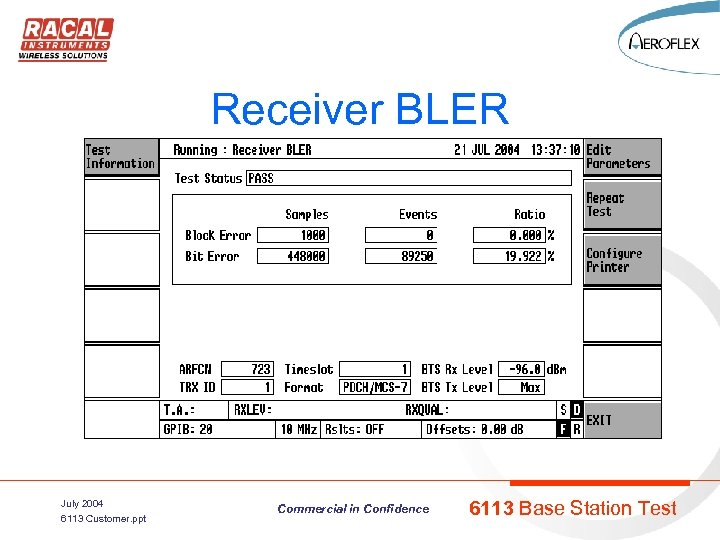 Receiver BLER July 2004 6113 Customer. ppt Commercial in Confidence 6113 Base Station Test