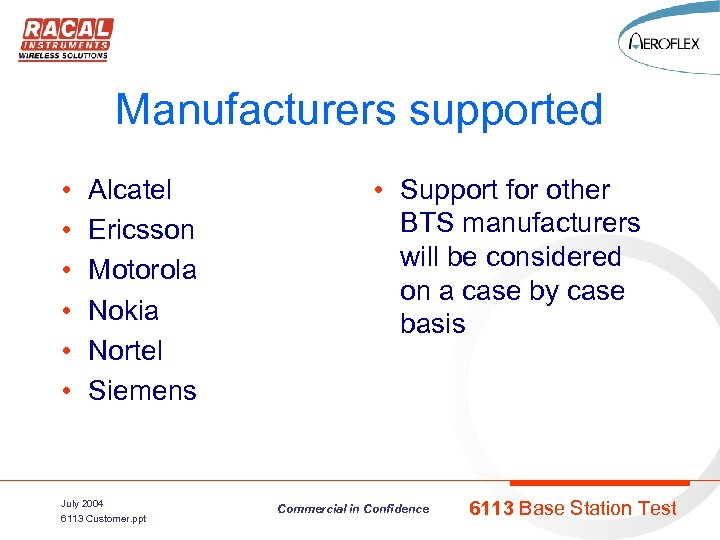 Manufacturers supported • • • Alcatel Ericsson Motorola Nokia Nortel Siemens July 2004 6113