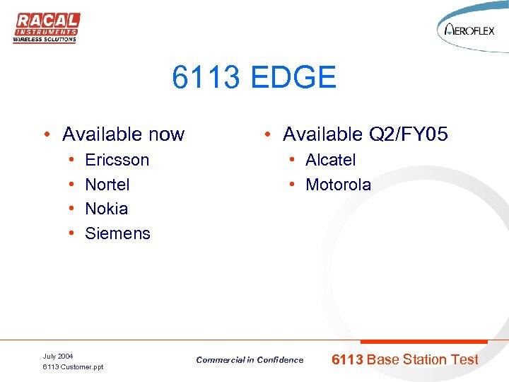 6113 EDGE • Available now • • Ericsson Nortel Nokia Siemens July 2004 6113