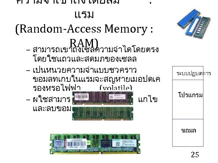 ความจำเขาถงโดยสม : แรม (Random-Access Memory : RAM) – สามารถเขาถงเซลความจำไดโดยตรง โดยใชแถวและสดมภของเซลล – เปนหนวยความจำแบบชวคราว ขอมลทเกบในแรมจะสญหายเมอปดเค รองหรอไฟฟา
