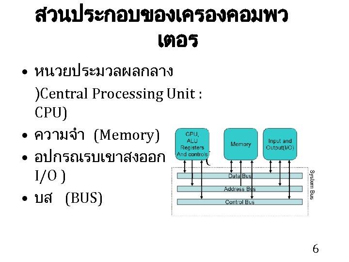 สวนประกอบของเครองคอมพว เตอร • หนวยประมวลผลกลาง )Central Processing Unit : CPU) • ความจำ (Memory) • อปกรณรบเขาสงออก
