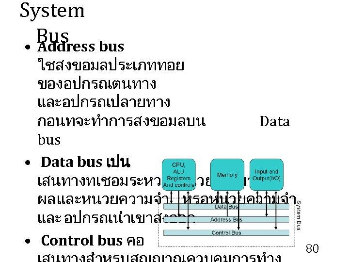 System Bus • Address bus ใชสงขอมลประเภททอย ของอปกรณตนทาง และอปกรณปลายทาง กอนทจะทำการสงขอมลบน Data bus • Data bus