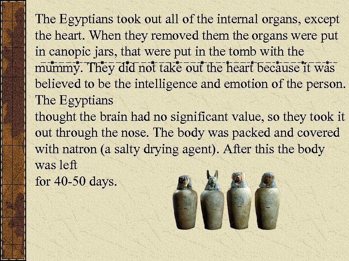 The Egyptians took out all of the internal organs, except the heart. When they