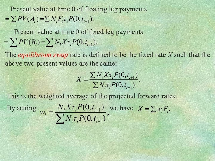 Present value at time 0 of floating leg payments Present value at time 0