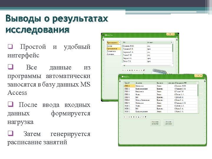 Выводы о результатах исследования Простой интерфейс q и удобный q Все данные из программы