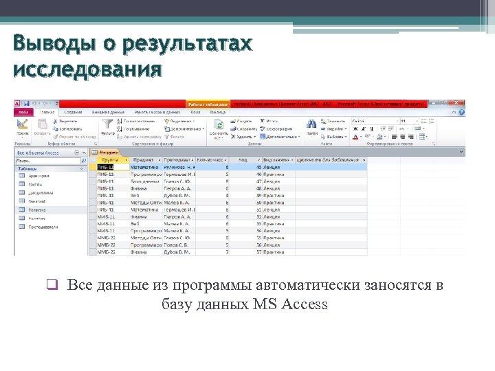 Выводы о результатах исследования q Все данные из программы автоматически заносятся в базу данных